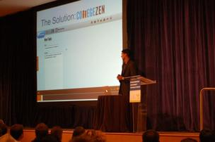 Neil Soni, co-founder and CEO of The College People, shows off the  company's first product CollegeZen.com, a social media recruiting  platform for colleges at Innovation Works Investor Day in May.