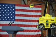 The podium at the National Robotics Engineering Center in Lawrenceville where President Obama is to speak Friday, June 24, about an advanced manufacturing partnership he is launching here in Pittsburgh.