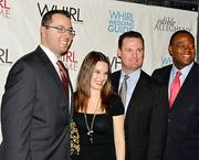 Ethan Nicholas, president of the Pittsburgh Social Exchange, left, Christine Altmyer, N2 Publishing, Mayor Luke Ravenstal and Andrew Stockey from WTAE at the 2012 Holiday Party and Networking Reception hosted by the Pittsburgh Social Exchange and Whirl Magazine. The event was held at Stage AE, located on the North Shore.