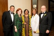 Honoree Tim Stevens, left, board chair Annie Hanna Cestra, Urban League of Greater Pittsburgh President and CEO Esther L. Bush, and honorees Doris Carson Williams and Dr. Jared Cohon at the Ronald H. Brown Leadership Awards Gala, where $400,000 was raised to support the programs and services of the Urban League.