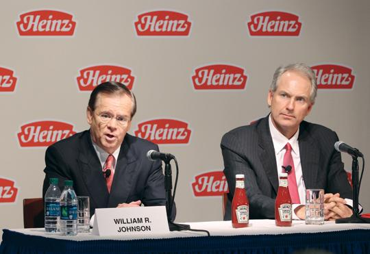 H.J. Heinz Co. Chairman, President and CEO William Johnson, left, with 3G Capital Managing Partner Alex Behring.
