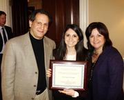 Natalie Celmo is flanked by her parents, Jim and Lisa Celmo at the Master Builders' Association's Annual Meeting. MBA handed out scholarships to University of Pittsburgh construction management majors. Natalie was a grand prize winner.