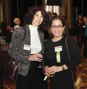 Terri Sokoloff, president of Specialty Bar & Restaurant Brokers, left, networks with Mary Guinee, vice president of Civil & Environmental Consultants Inc.