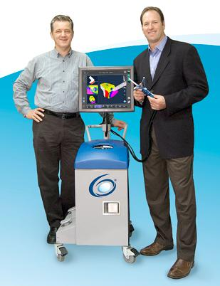 Branko Jaramaz, left, chief technology officer and cofounder of Blue Belt Technologies, and CEO Eric Timko stand with the NAVIO PFS, a robotic surgical tool it will be rolling out in the European Union later this year.