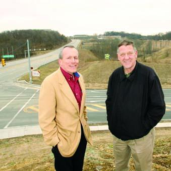AdVenture Development LLC's Kevin Dougherty, left, and project manager Bob McGurk stand at the McCandless Crossing site at McKnight Road and Duncan Avenue.