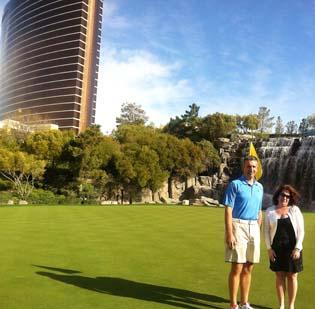 J.J. and Jackie Sorrenti stand on the green at the Wynn Golf Club in Las Vegas. The Sorrentis have played golf in more than 30 states and all around the world.