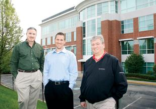 From left, Joe Tranchini, Chad Ziemba and Dave Staffen, principals of KASCAR HVAC Solutions Inc., stand in front of the Southpointe building in which they'll soon be moving their company's operations.