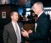 Diamond Award winner Patrick O'Brien, First Federal Savings Bank, right, mingles with Mike Comstock, Sisterson & Co. LLP at the Pittsburgh Business Times event.