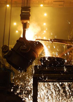 U.S. Steel Corp. makes steel in the basic oxygen shop at its Edgar Thomson Plant in Braddock.