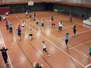 Saint Francis University employees take part in a Zumba Fitness party. The university was raising money for the American Lung Association to promote lung cancer education.
