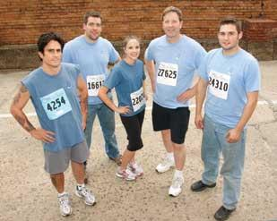 Tomayko Group's (from left) Pete Yezbak, Josh Steiner, Shayla Hynes, John Dzierski and Wes Donahoe were among 20 employees who participated in this year's Race For The Cure.
