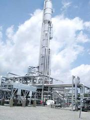 One of three processing towers at MarkWest's Houston plant, which separates the gas coming out of Range Resources' wells in southwestern Pennsylvania.