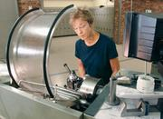 Linda Pochedly uses a lathe at New Century Careers on the South Side. Enrolled in a six-month manufacturing program, Pochedly previously worked in accounting for five years and in landscaping for 10 years before she shifted to her new career path.