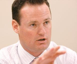 Pittsburgh Mayor Luke Ravenstahl answers a question during a meeting with editorial staff members at the Pittsburgh Business Times.