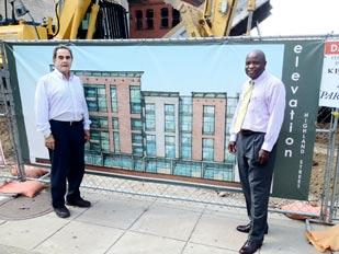 Ed Lesoon, left, principal of the Wedgewood Group, and developer Nigel Parkinson, are working to develop an Indigo Hotel on Highland Avenue in East Liberty.