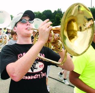 Members of Upper St. Clair High School's Marching Band rehearse during band camp Aug. 15. The district has a new office dedicated to looking for private funding for education programs.