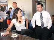 Alicia Skatell of Philip Pelusi talks with Brian Eddy of HSG during the BizMix event held Aug. 30 at Villa Southside.