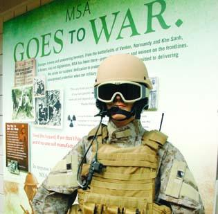 Mine Safety Appliance Co.'s historical exhibit includes a display of products developed for and used by military forces.