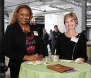 Genevieve Oduor, left, and Kathryn Weir, both with S&T Bank, attended the Corridors of Opportunity event at Bakery Square.
