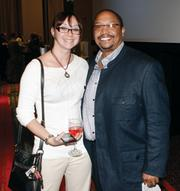 Kristen Graham of Promotions with Personality and David Atkins of VisitPittsburgh mingle at the event.