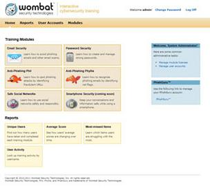 A software screen shot details some of the training modules Wombat Security Technologies offers to combat cyber security threats.
