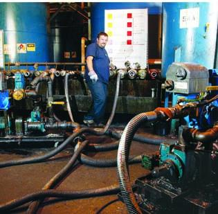 Ron Brewster blends a fuel additive at Allegheny Petroleum Products Co. in Wilmerding.
