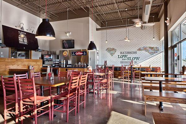 Old Carolina Barbecue Co. typically houses its restaurants in space of more than 2,000 square feet located in suburban shopping centers.