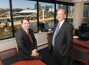 F.N.B.'s Vincent Delie, left, and John Williams, at the bank's growing North Shore regional headquarters.