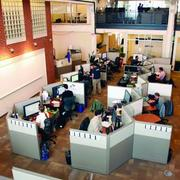 Desk configurations at Google's new office in Bakery Square are designed to encourage a collaborative atmosphere.