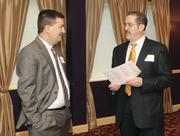 Joseph Zovko, left, and Richard Fischer of Louis Plung & Co. at Business for Breakfast. Louis Plung & Co. was an event sponsor.