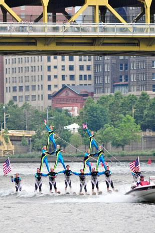 Mad City performs at the 2011 EQT Three Rivers Pittsburgh Regatta. This year's water ski show will be performed by the Beaverland Must-Skis from Beaver Dam, Wisc.