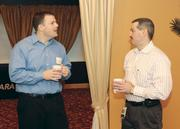 The latest Business for Breakfast from the Pittsburgh Business Times was held Wednesday at the Sigmas Conference & Event Center, 1717 Babcock Blvd., in the North Hills of Pittsburgh. Chad Pearce, left, of 4CTechnologies chats with James Lockard of DQE Communications.