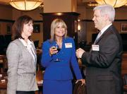 Janice Devine, left,  Joanne Wall and Francis Colangelo, M.D., of Premier Medical Associates chat prior to the Diamond Awards ceremony April 26, 2012. For more coverage of the Diamond Award winners, see our special section: http://bizj.us/b5zbj