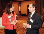 Rebecca Lando of Buchanan Ingersoll chats with Andrew Golembeski of EverPower Wind Holdings prior to the Energy Leadership Awards May 17, 2012.