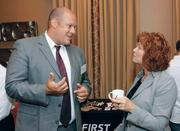 Jack Jacobs of First Niagara Bank chats with Marcy Reid of Secon Corp.