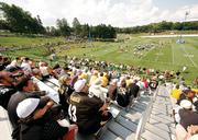 Pittsburgh Steelers fans pack the seats at Chuck Noll Field Aug. 1, 2012, to watch their team practice during training camp.