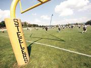The Pittsburgh Steelers practice Aug. 1, 2012, at Chuck Noll Field during training camp at Saint Vincent College in Latrobe, Westmoreland County.