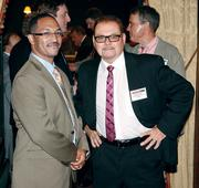 Rick Davies, left, of Luttner Financial Group Ltd. chats with David Cegan of The Financial Search Group at the Pittsburgh 100 Awards, held Thursday, Aug. 23.