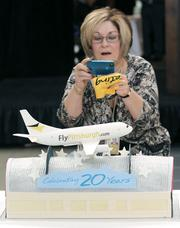 A cake made for the Pittsburgh International Airport 20th anniversary celebration is photographed Oct. 1 by Patricia Rossi, executive assistant to Brad Penrod, the executive director and CEO of the Allegheny County Airport Authority. The airport marked the anniversary of the terminal building, which opened in 1992.