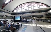 Allegheny County Executive Rich Fitzgerald addresses attendees of the Pittsburgh International Airport 20th anniversary celebration.
