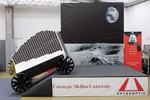 A full-size prototype of Polaris, a solar-powered robot that will search for water ice at the moon's poles, is demonstrated at Carnegie Mellon University.