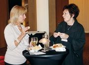 Linda Bannon, left, of The Heinz Endowments chats with Elizabeth Tata of Laurel Foundation at Oktoberfest at Rivers Casino.