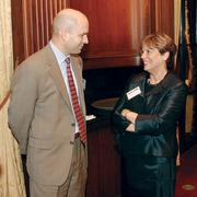 Michael Sexauer of Pittsburgh Parks Conservancy chats with Beth Pearson of Tucker Arensburg at the VisionPittsburgh event.