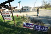 """Richard Kasiewicz, 57, leaves Rinaldi's Pizza Barn in Derry Township, Westmoreland County, after voting Tuesday, Nov. 6. It was Kasiewicz's first time voting at the restaurant-turned-polling station. He said he liked it there better than his previous polling place. """"It seems more organized and they're quicker,"""" the Derry Township resident said. There are a number of private companies and places of business that serve as polling places on Election Day."""