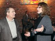 Ken Fink of Consulting Professional Resources Inc. chats with Lisa Bruno of Guard Specialized Staffing.