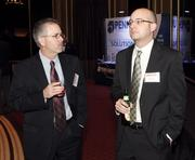 Ashley Wellner, left, and Dave Holmes of Aerotech, Inc.