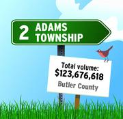 Adams Township in Butler County was the No. 2 community in RealSTATs' listing of total dollar volume in 2011 in the Pittsburgh region.