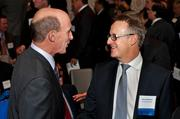Allegheny Conference CEO Dennis Yablonsky, left, and Dave Woodward of H.J. Heinz Co., at the Allegheny Conference's annual meeting earlier this month in downtown Pittsburgh.