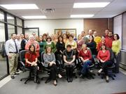 Sentric Inc. employees came together for a group photo used in a holiday email to clients.