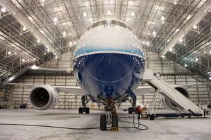 The Boeing 787 Dreamliner in a hanger at Portland International Airport.